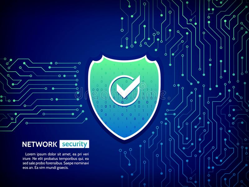 Security shield concept. Internet security. Vector illustration digital protection. Abstract high tech circuit board. Security shield concept. Internet security stock illustration