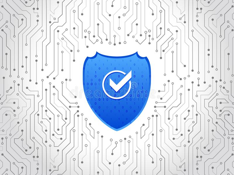 Abstract high tech circuit board. Security shield concept. Internet security. Vector illustration digital protection royalty free illustration