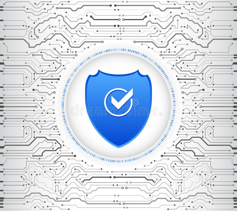 Abstract high tech circuit board. Security shield concept. Internet security vector illustration