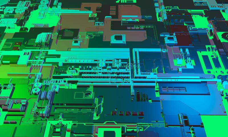 Abstract high tech electronic PCB Printed circuit board background in blue and green color. 3d illustration royalty free illustration