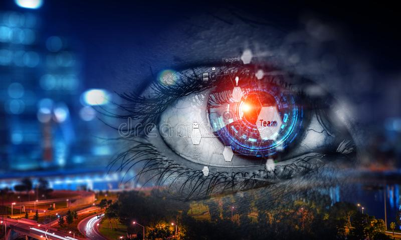 Abstract high tech eye concept. Close up of eye with blue digital iris with management diagram, cityscape background stock images
