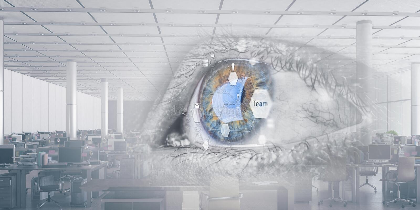 Abstract high tech eye concept. Close up of eye with management diagram , corporate open space office background royalty free stock images