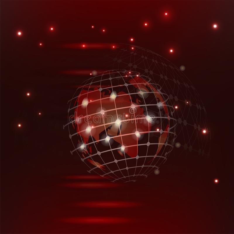 Abstract high tech red vector background red glowing connections in space with particles, big data, computer generated royalty free illustration