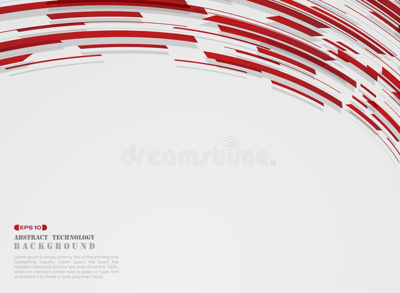 Abstract of high technology motion gradient red stripe lines pattern background stock illustration