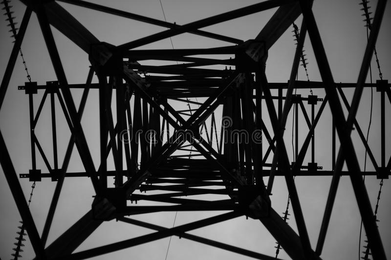 An abstract of a high tension tower stock images