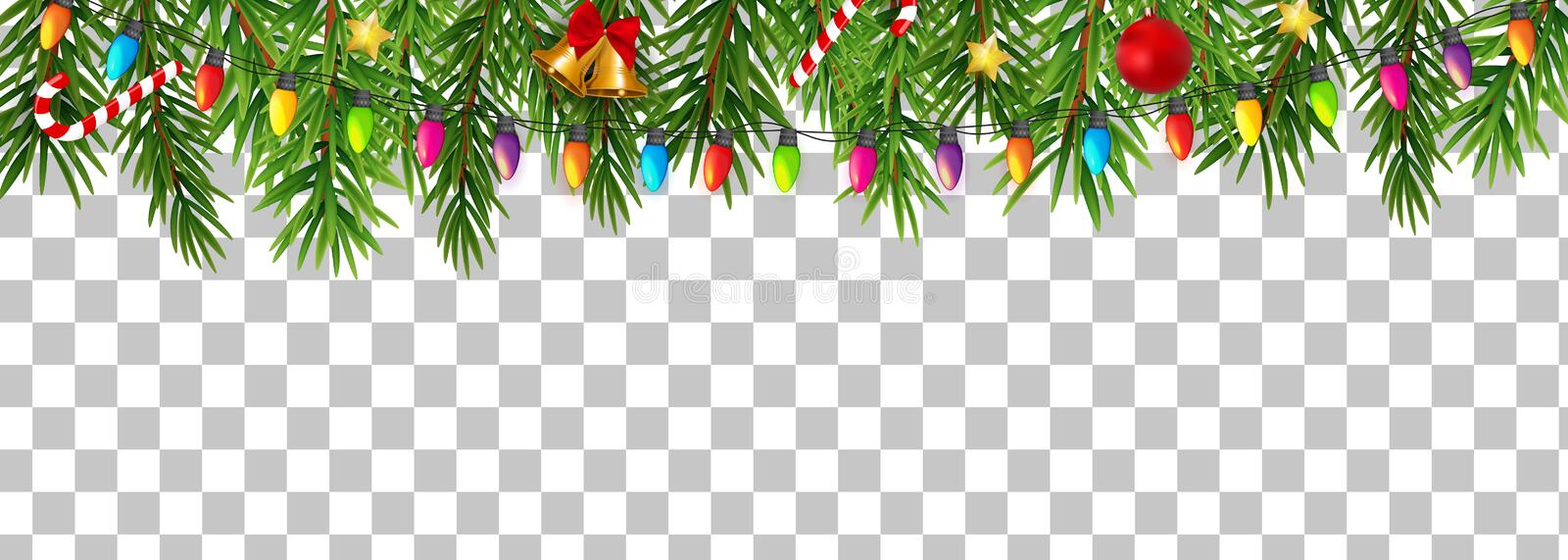 Abstract Holiday New Year and Merry Christmas Border on Transparent Background Vector Illustration stock illustration