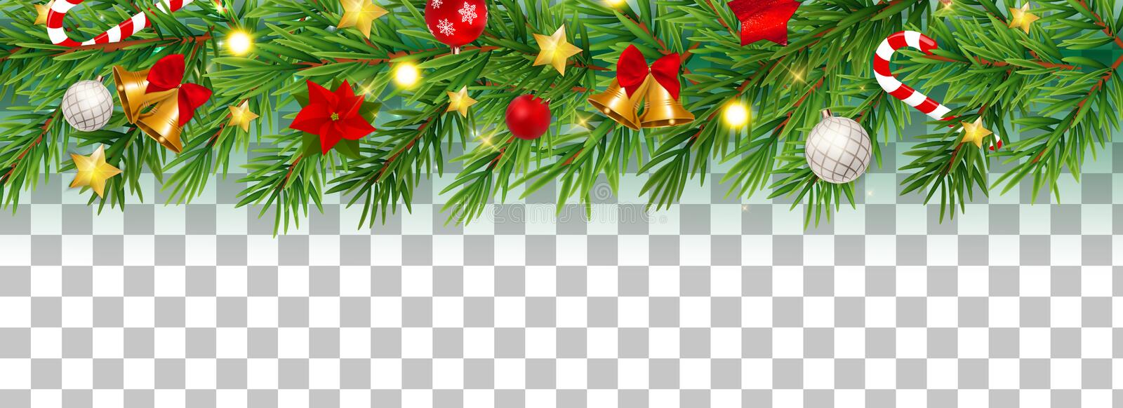 Abstract Holiday New Year and Merry Christmas Border on Transparent Background Vector Illustration royalty free illustration