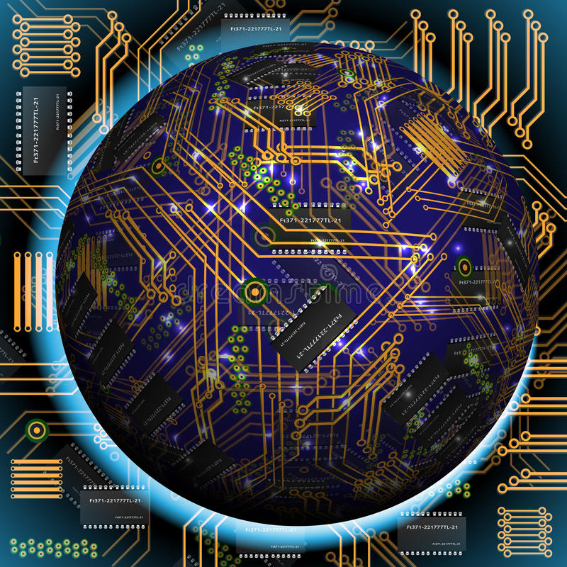 Free Abstract Hollow Sphere, Chip, Microcircuit, Silicon Chip, Microchip Royalty Free Stock Images - 33813979