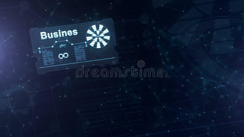 Abstract hologram Adreskaartje met een teken van pijltjes, wit tandwiel en een andere diagrammen Abstract blauw vector illustratie