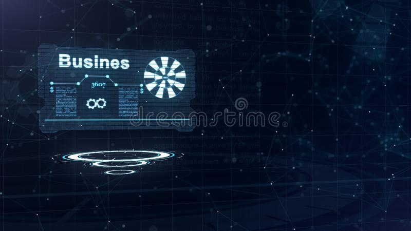 Abstract hologram. Business card with a sign of darts, gear-wheel and some other diagrams. Abstract blue background stock illustration