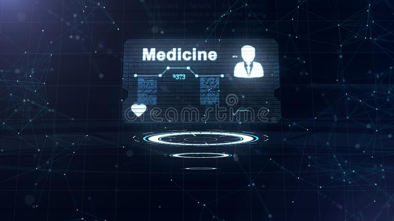 Abstract hologram. Medicine card with head shot and sign of heart rate, pressure and some other diagrams. Abstract blue royalty free illustration
