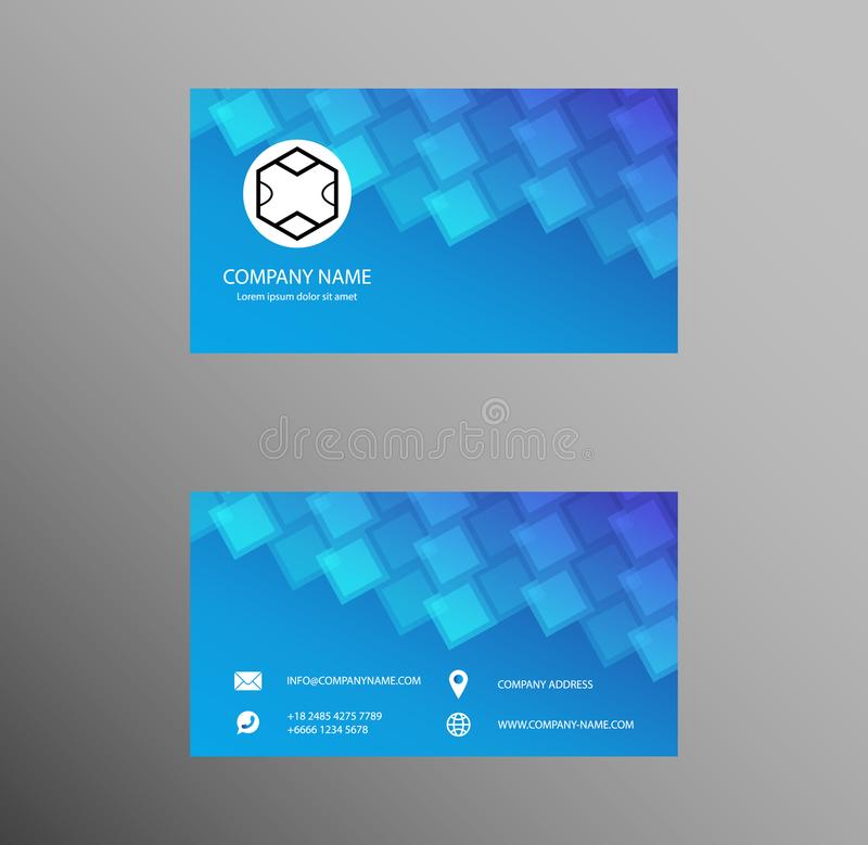 Set of Business Card Design, Light Blue color, Contact card for company, Banners and Infographic. Abstract Modern Geometric Backg vector illustration