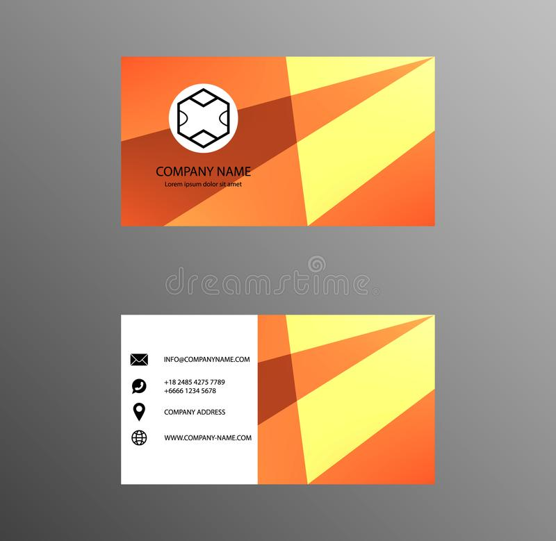 Set of Business Card Design, Yellow and Orange color, Contact card for company, Banners and Infographic. Abstract Modern Geometri royalty free illustration