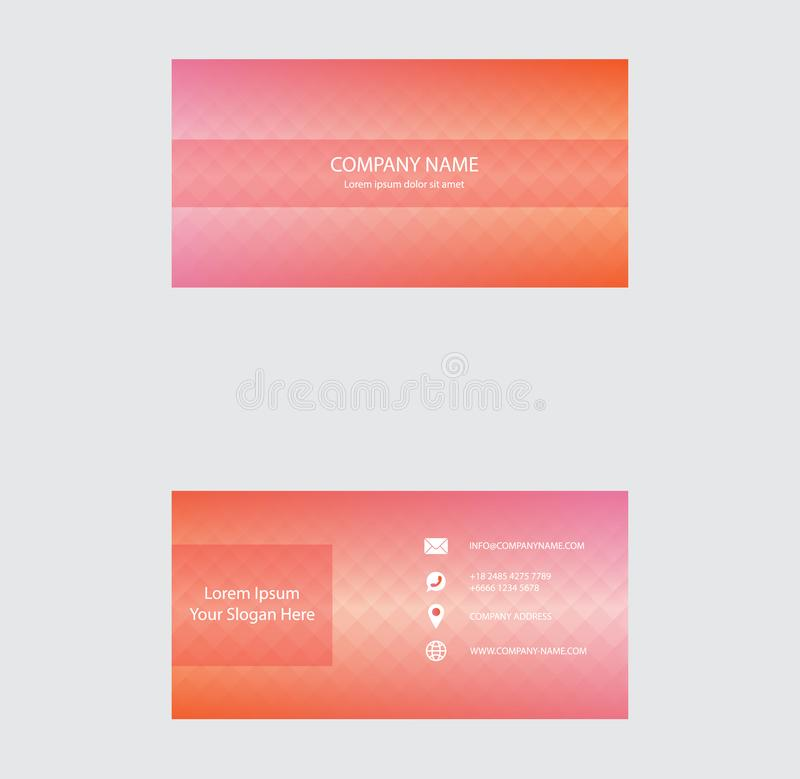 Set of Business Card Design, Orange Pink Gradient color, Contact card for company, Infographic. Abstract Modern Geometric Backgrou royalty free illustration