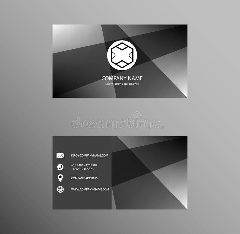 Set of Business Card Design, Grey Gradient color, Contact card for company, Banners and Infographic. Abstract Modern Geometric Ba royalty free illustration
