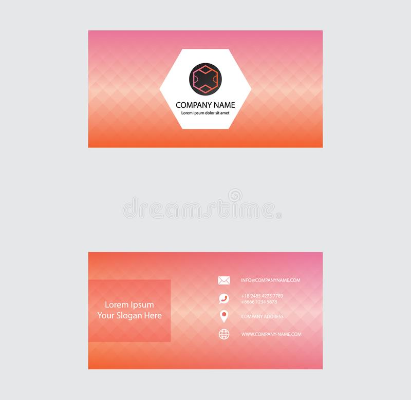 Set of Business Card Design, Orange Pink Gradient color, Contact card for company, Infographic. Abstract Modern Geometric Backgrou stock illustration