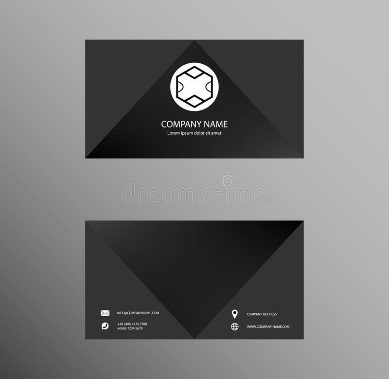 Set of Business Card Design, Elegant Black color, Contact card for company, Banners and Infographic. Abstract Modern Geometric Ba royalty free illustration