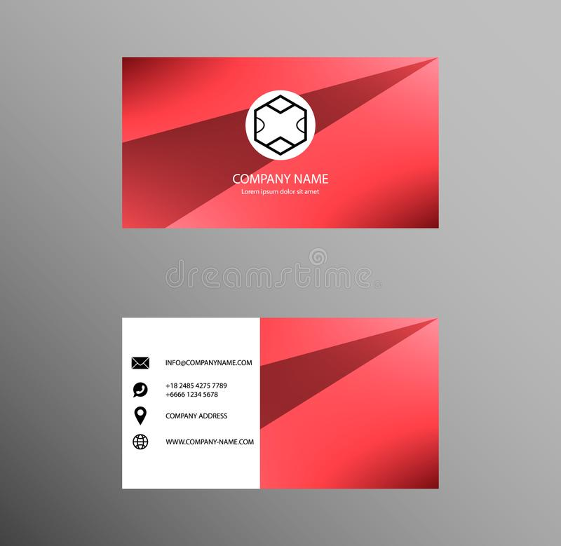 Set of Business Card Design, Red color, Contact card for company, Banners and Infographic. Abstract Modern Geometric Backgrounds vector illustration