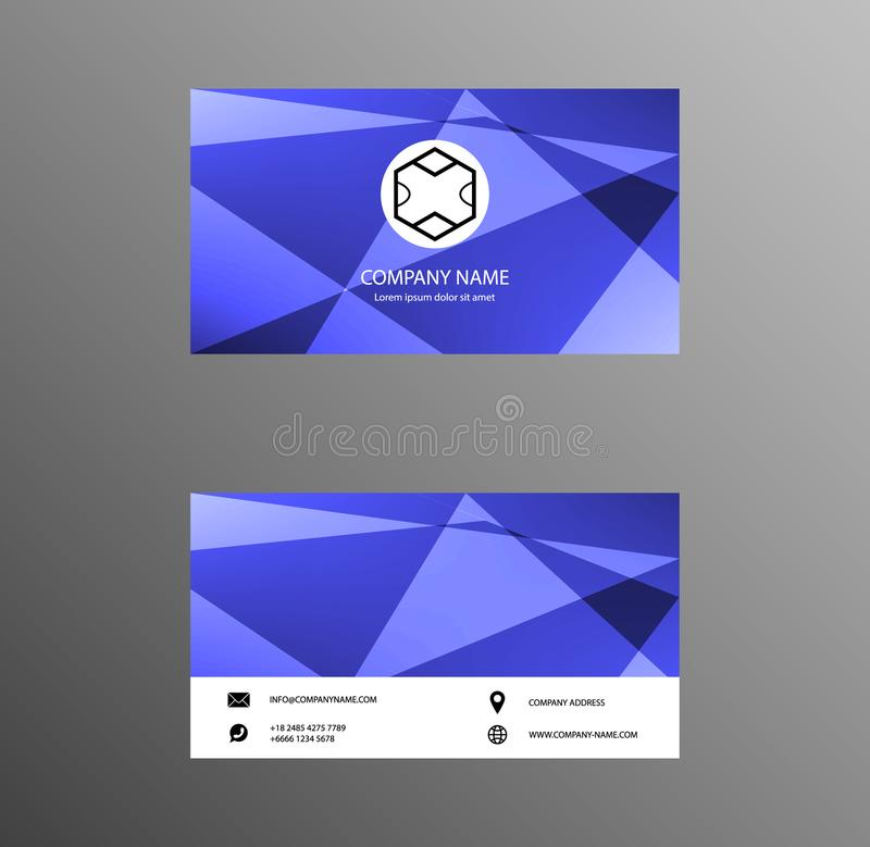 Set of Business Card Design, Blue and White color, Contact card for company, Banners and Infographic. Abstract Modern Geometric B stock illustration
