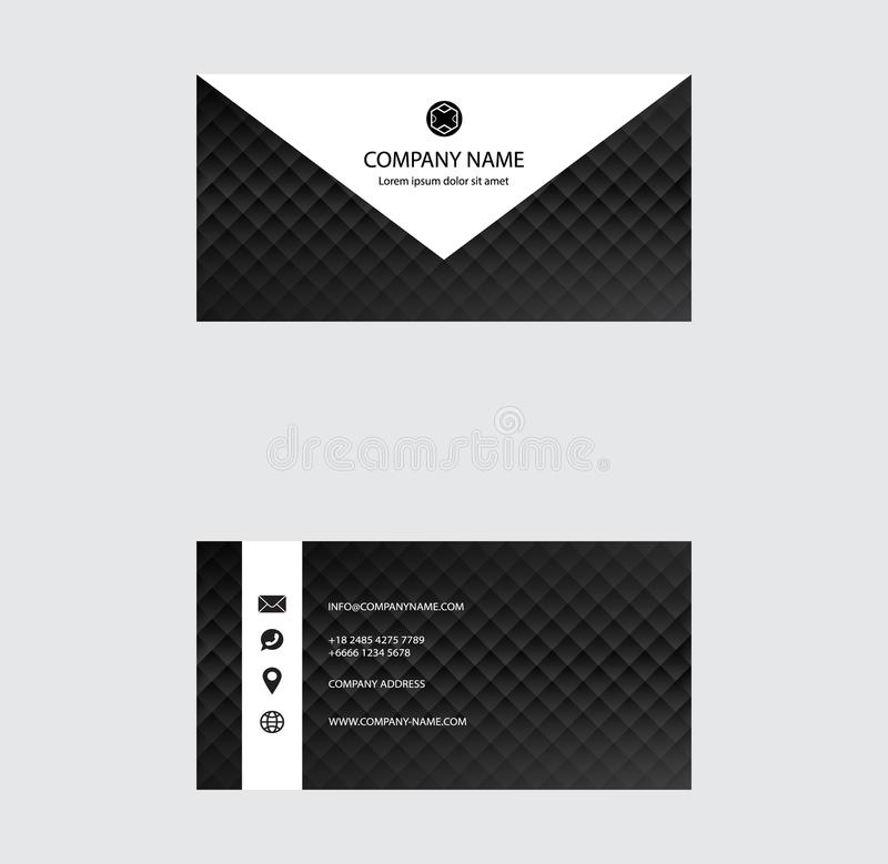 Set of Business Card Design, Black and White color, Contact card for company, Infographic. Abstract Modern Geometric Backgrounds vector illustration