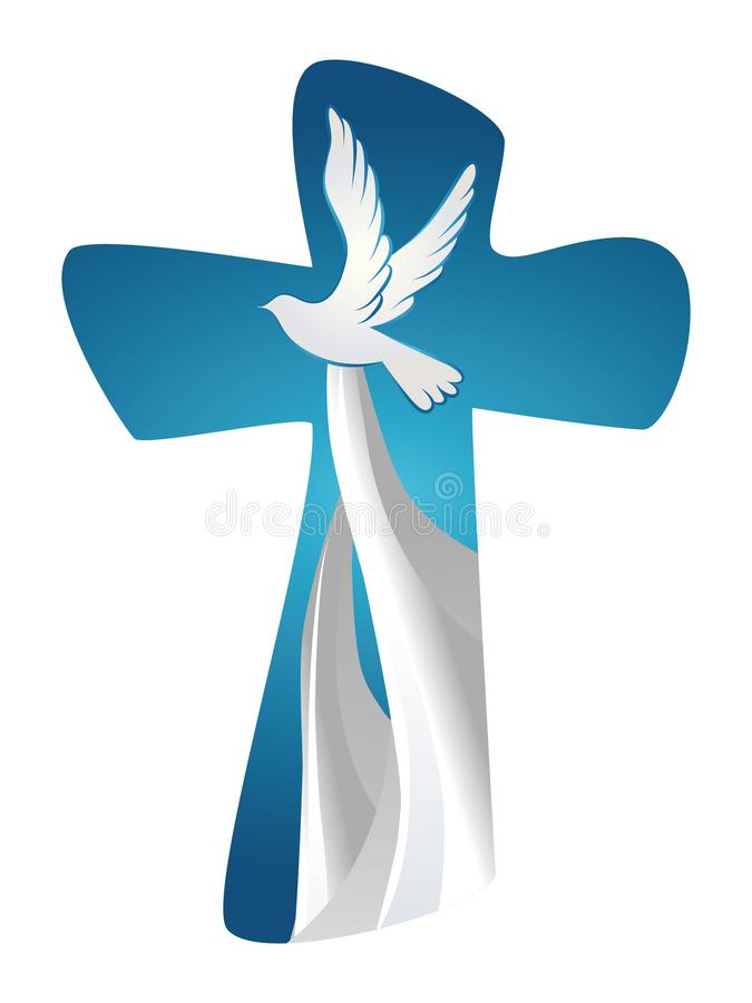 Abstract Holy Spirit symbol with dove on blue background. Christian cross royalty free stock photography