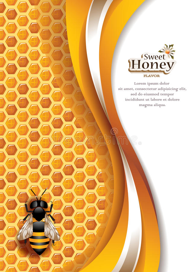 Abstract Honey Background with Working Bee royalty free illustration