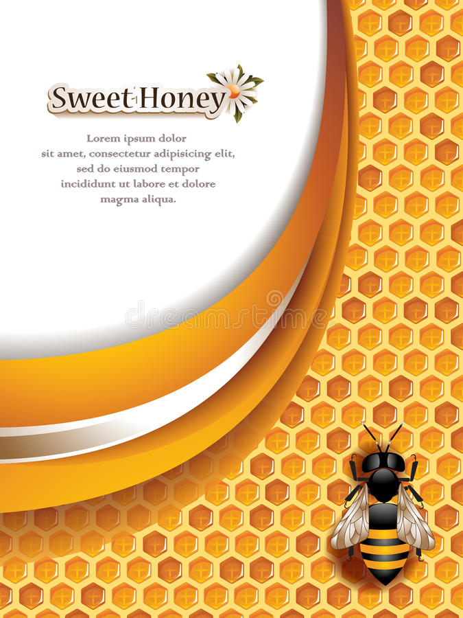 Abstract Honey Background with Working Bee. Vector illustration of an abstract honey background with working bee and space for text vector illustration