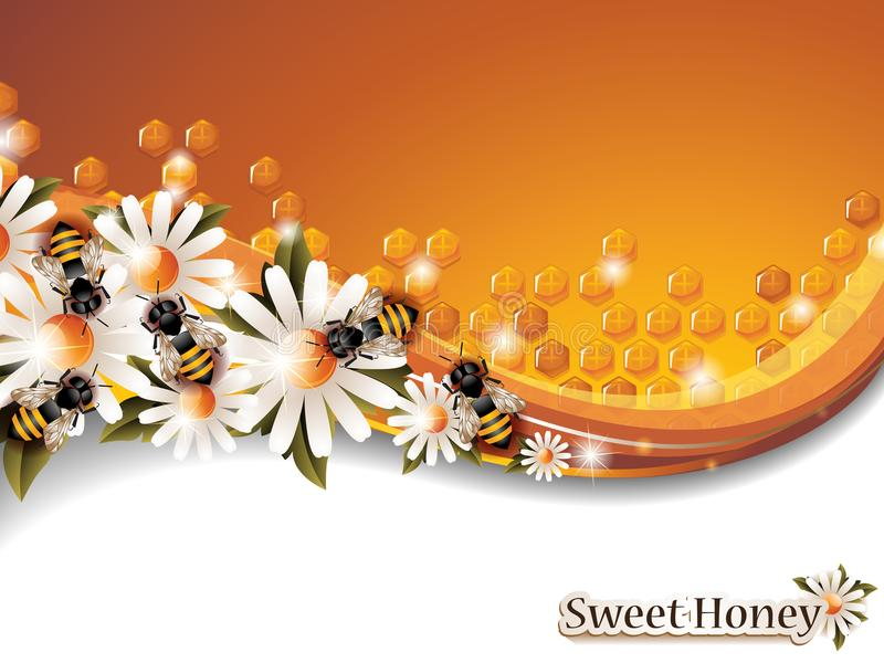 Abstract Honey Background with Working Bees and Spring Flowers stock illustration