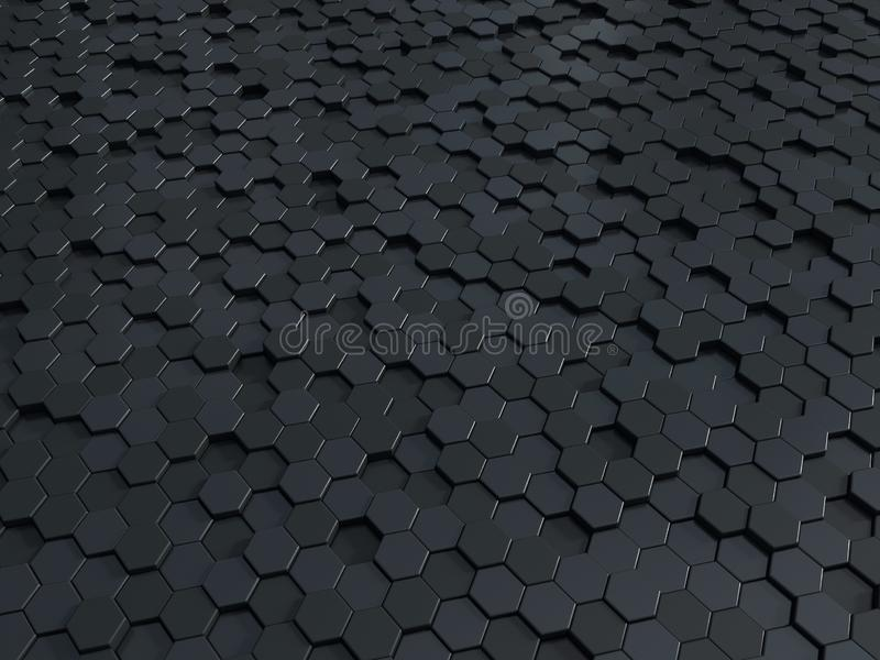 Abstract honeycomb metallic panels 3d background. Metallic hexagonal dark background or texture vector illustration