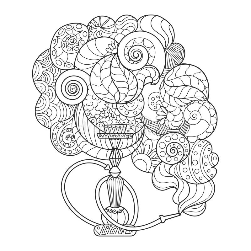 Abstract hookah coloring book vector illustration royalty free illustration