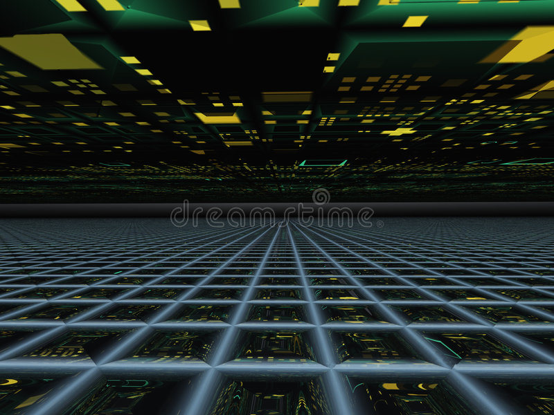 Abstract Horizon Grid Perspective. An abstract perspective horizon background, containing a grid with abstract technology and yellow and green grunge lights vector illustration