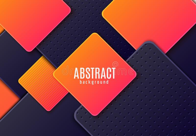Abstract horizontal background with dark grey and gradient orange layered rhombus. Vector minimalist paper cut geometric stock illustration