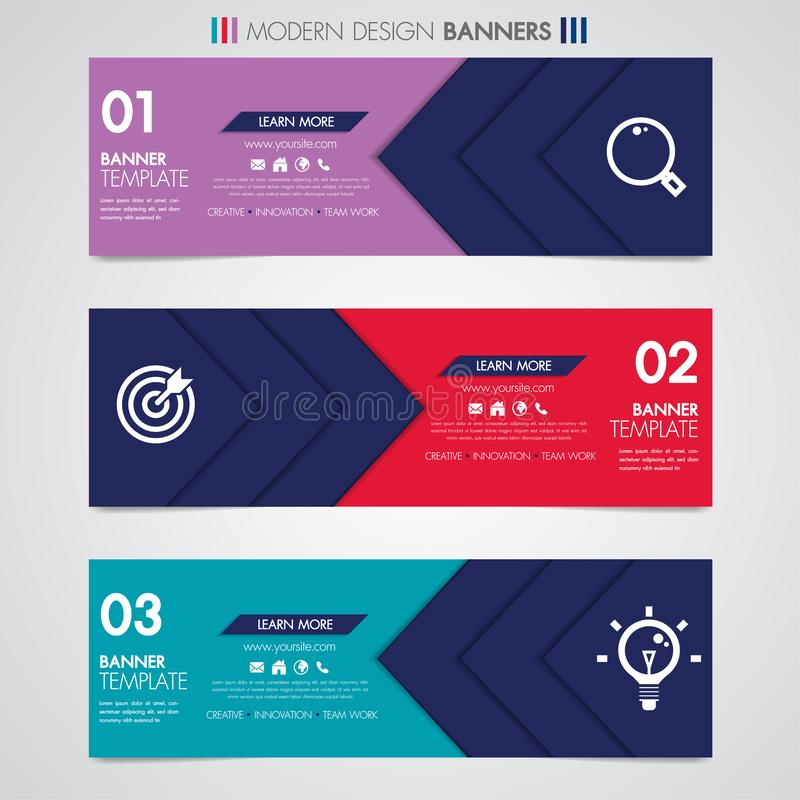 Abstract horizontal design banner geometric shapes design web set template with icon background or header Templates place for text.  vector illustration