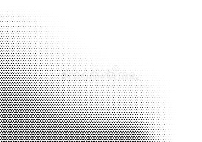 Abstract horizontal halftone monochrome background with dots of different size accumulated in left bottom angle. Grunge vector illustration