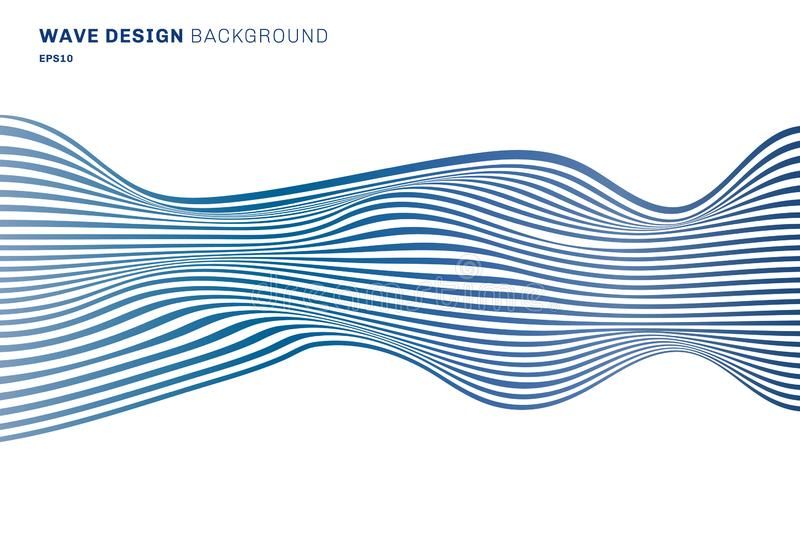 Abstract horizontal lines blue wave design pattern horizontal lines on white background. optical art texture stock illustration