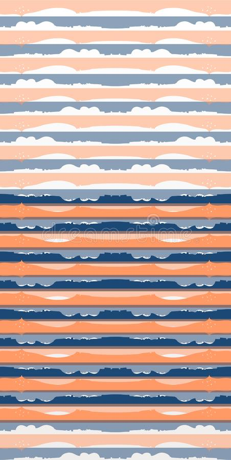 Abstract horizontal striped seamless pattern. Print for fabric. Beautiful collection. Landscape ornament vector illustration