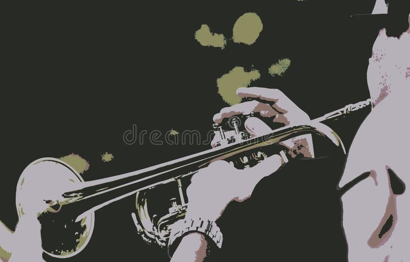 Abstract Horn Being Played. The horn was being played by my husband at a music event in the part at night. It was a popular festival which drew a large crowd royalty free stock images