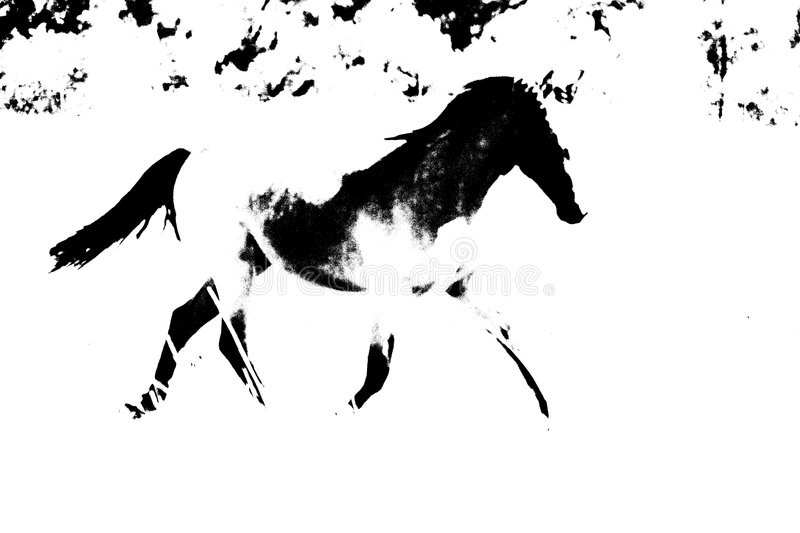 Abstract Horse OUtline. Black and white abstract outline of horse running royalty free stock photo