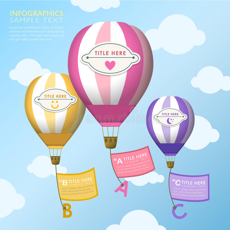 Abstract hot air balloons infographics design stock illustration