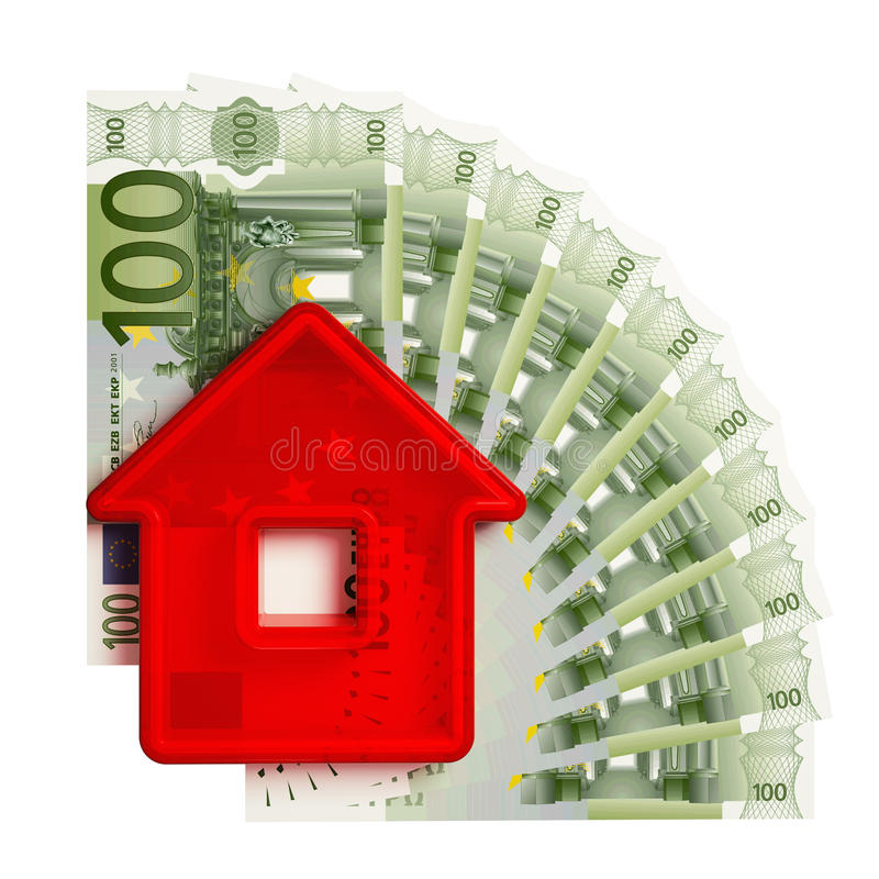 Abstract house with a hundred-euro royalty free illustration