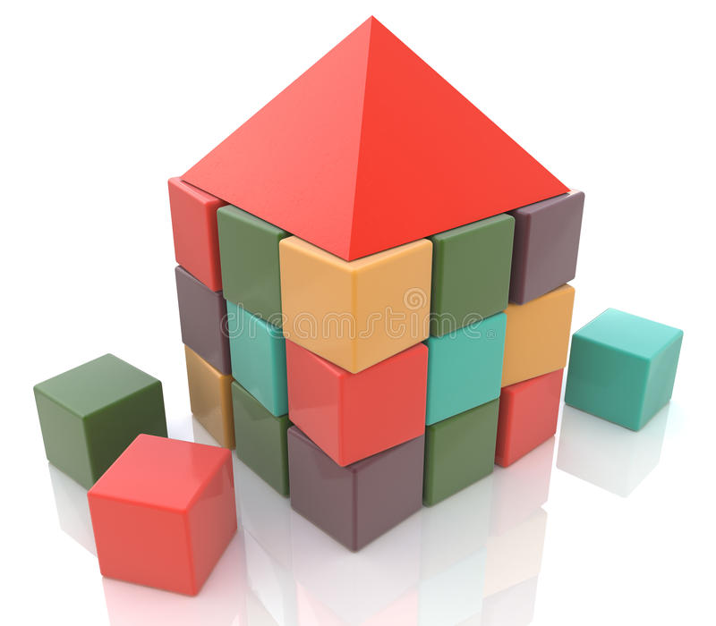 Abstract house made of children blocks 3d stock image