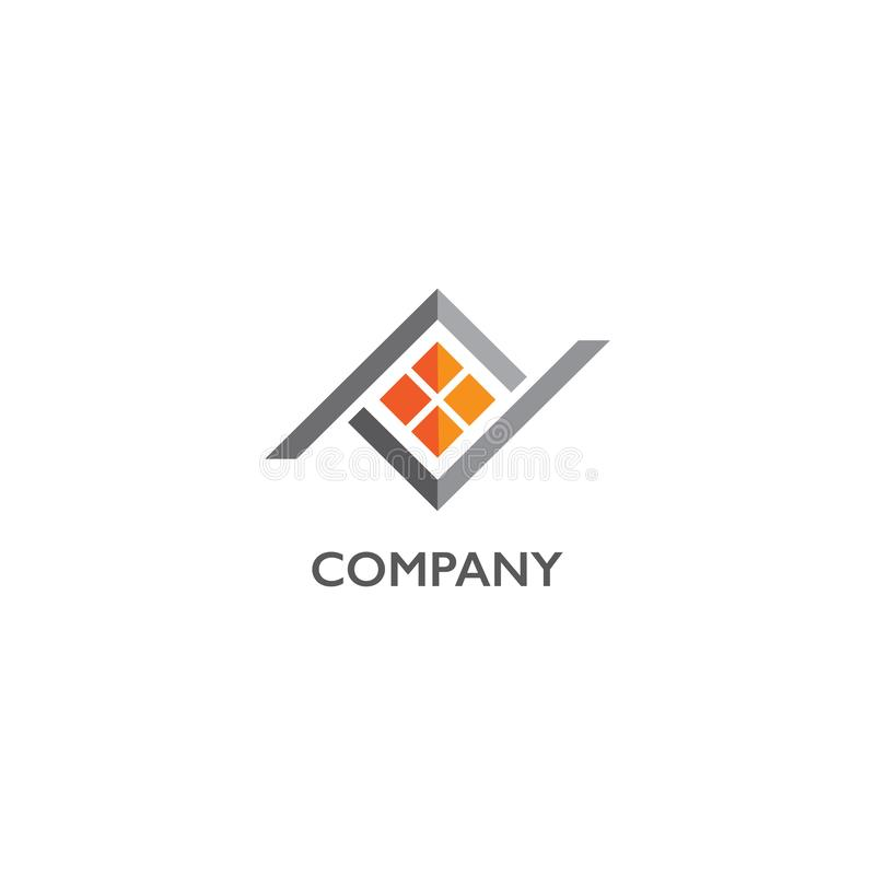 Abstract House Real Estate Logo Design Template, Home Builders Company 向量例证