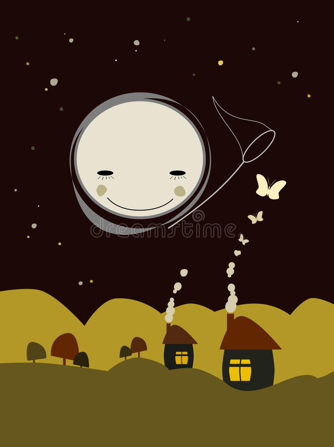 Abstract houses with full moon vector illustration