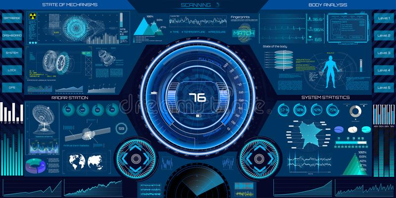 Abstract HUD elements for UI UX design. Sci-Fi vector illustration