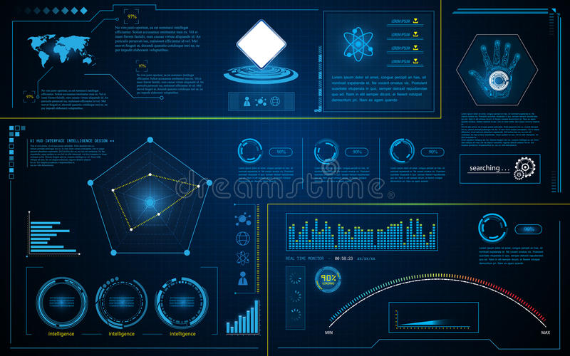 Abstract hud interface intelligence technology innovation system working concept. Eps 10 vector royalty free illustration