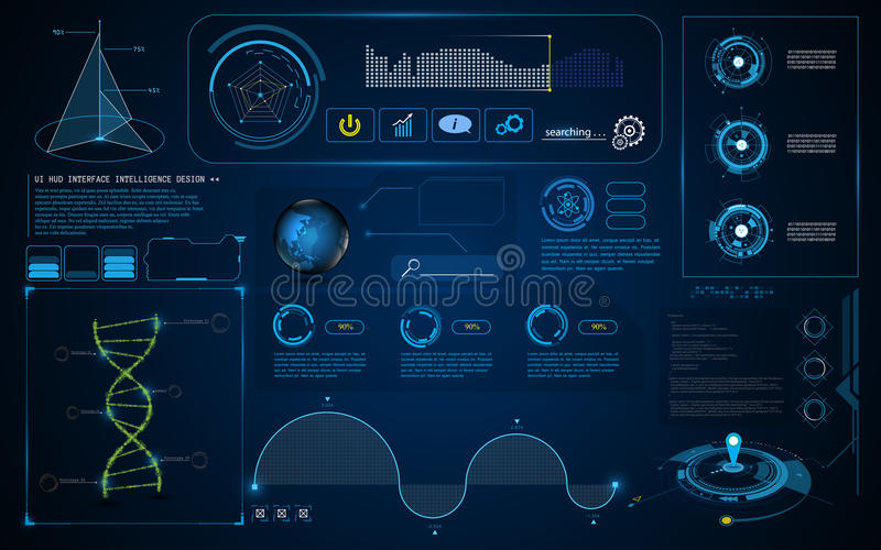 Abstract HUD interface UI Screen smart technology innovation concept template background. Eps 10 vector royalty free illustration
