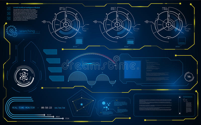 Abstract HUD interface UI smart intelligence computer monitor template background stock illustration