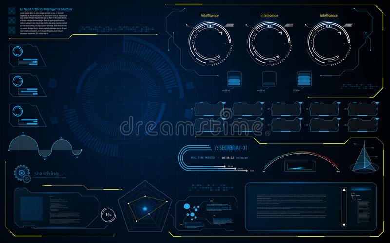 Abstract HUD UI interface data diagnostics conept design template background royalty free illustration