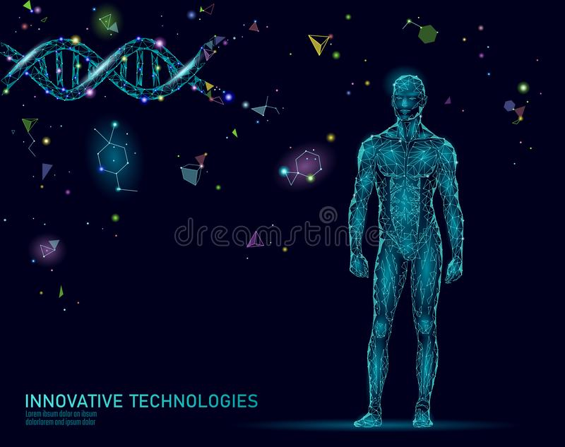 Abstract human body anatomy. DNA engineering science innovation superman technology. Genome health research cloning vector illustration