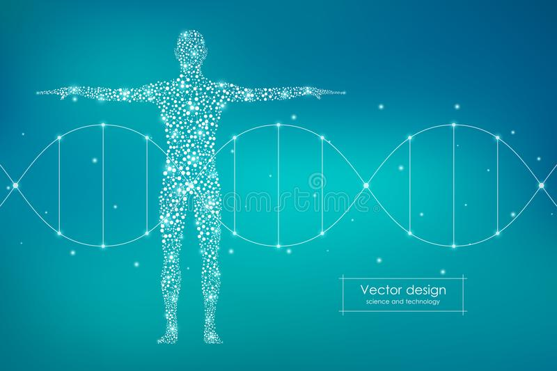 Abstract human body with molecules DNA. Medicine, science and technology concept. Vector illustration stock illustration
